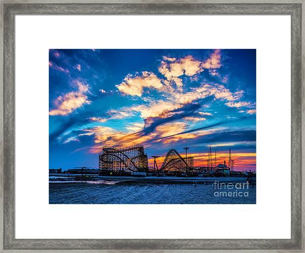 Wildwood Beach Sunset Framed Print