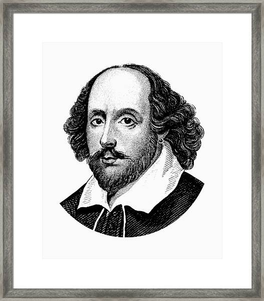 William Shakespeare - The Bard - Black And White Framed Print