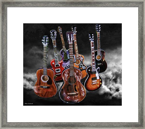 Willie Nelson Slash Martin Elvis Johnny Cash Guitar's  Framed Print