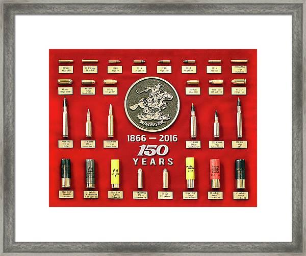 Winchester 150th Anniversary Commemorative Cartridge Board Framed Print
