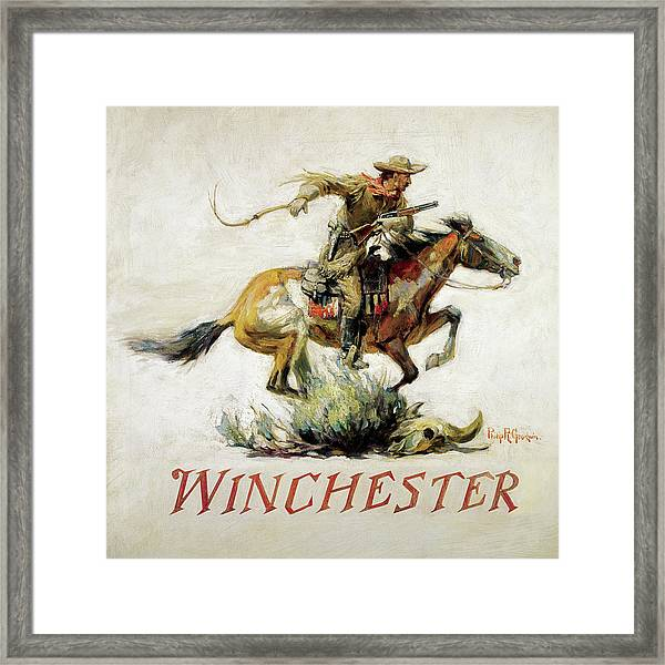 Winchester Horse And Rider Framed Print