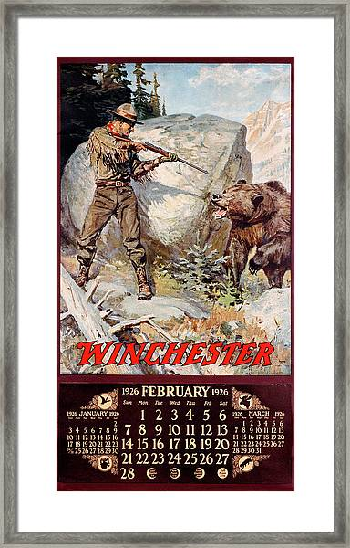 1926 Winchester Repeating Arms And Ammunition Calendar Framed Print