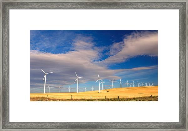 Wind Farm Against The Sky Framed Print