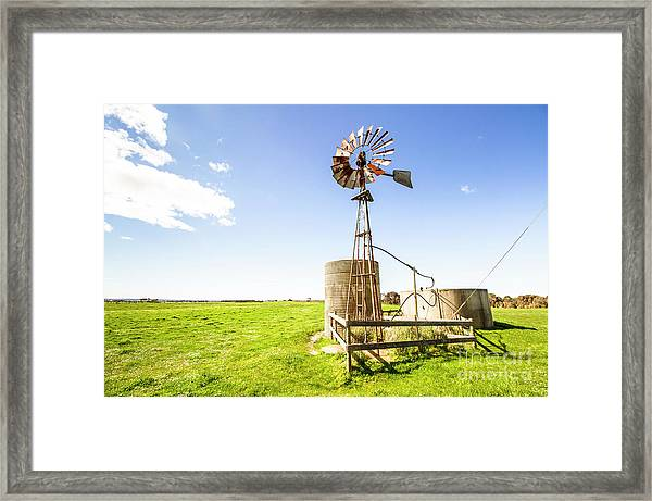 Wind Powered Farming Station Framed Print