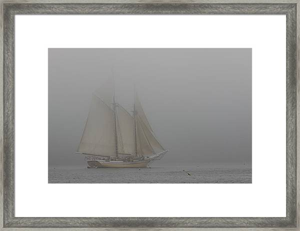 Windjammer In Fog Framed Print