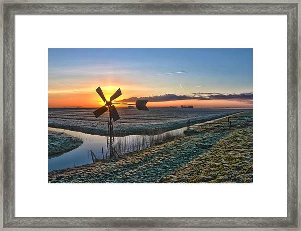 Windmill At Sunrise Framed Print
