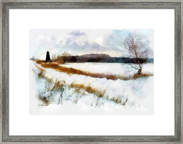 Windmill In The Snow Framed Print