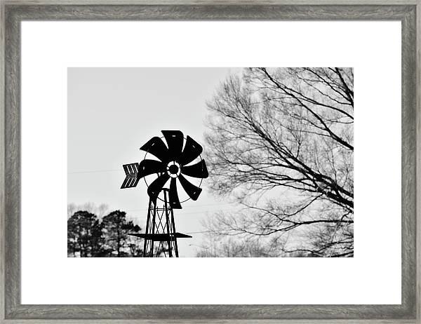 Windmill On The Farm Framed Print