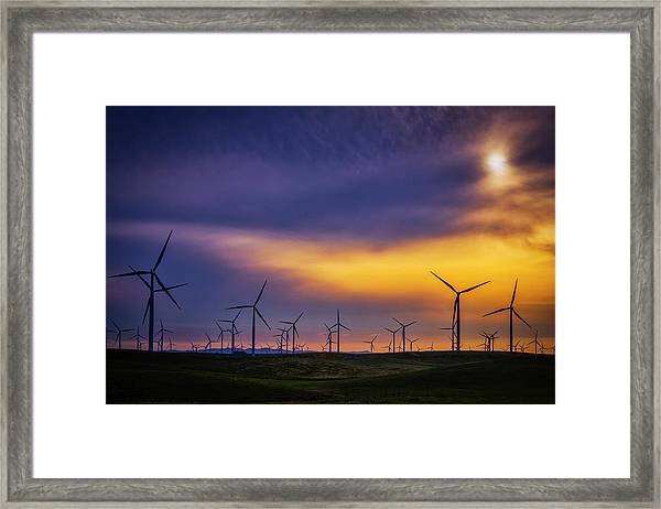 Windmills At Sunset Framed Print