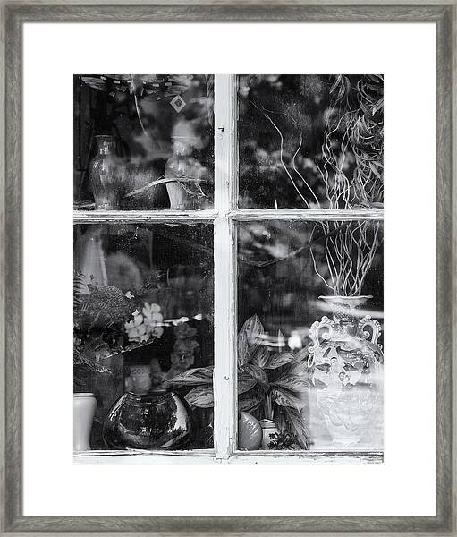 Window In Black And White Framed Print