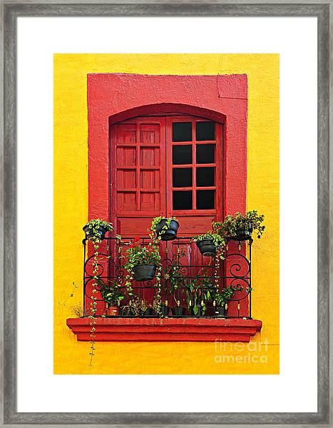 Window On Mexican House Framed Print