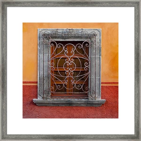 Window On Orange Wall San Miguel De Allende Framed Print