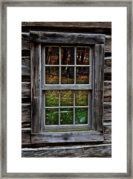 Window Reflection At Mabry Mill Framed Print