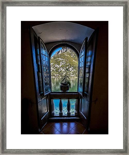 Window To The Lake Framed Print