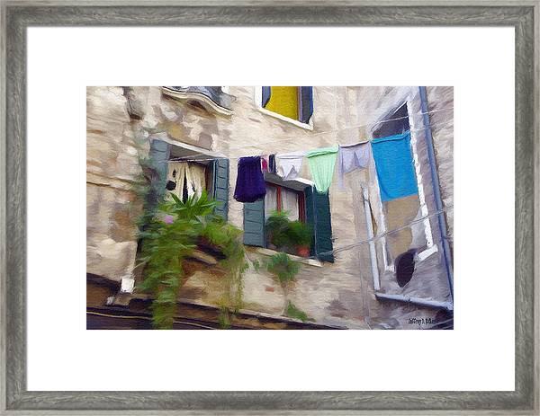 Windows Of Venice Framed Print