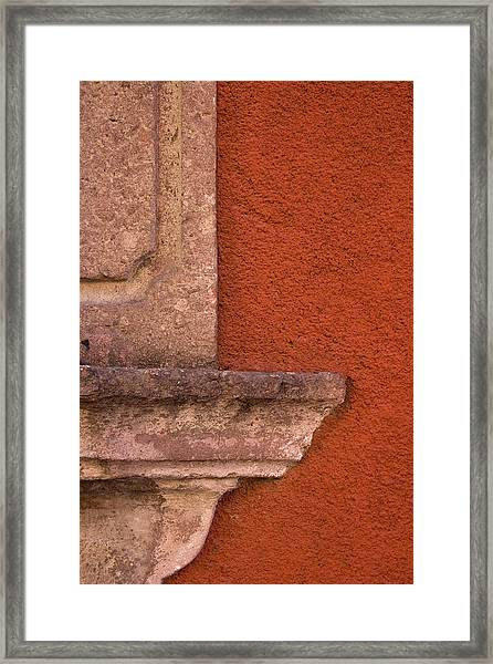 Windowsill And Orange Wall San Miguel De Allende Framed Print