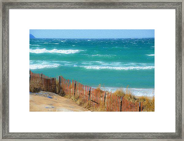 Windy Day On Lake Michigan Framed Print