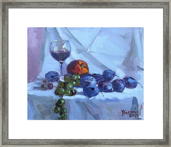 Wine And Fresh Fruits Framed Print