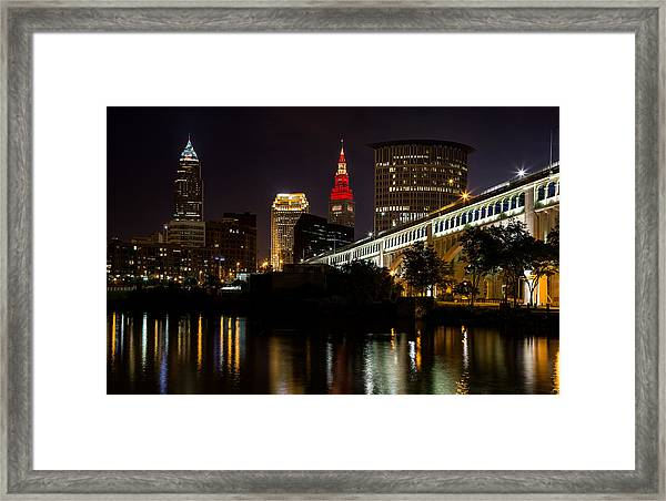 Wine And Gold In Cleveland Framed Print
