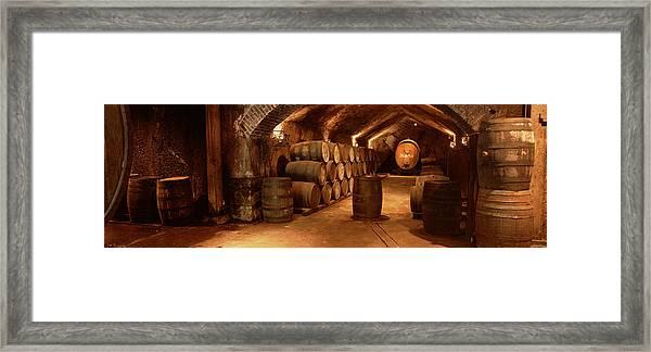 Wine Barrels In A Cellar, Buena Vista Framed Print