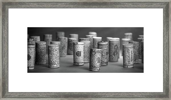 Wine Cork Panorama In Black And White Framed Print