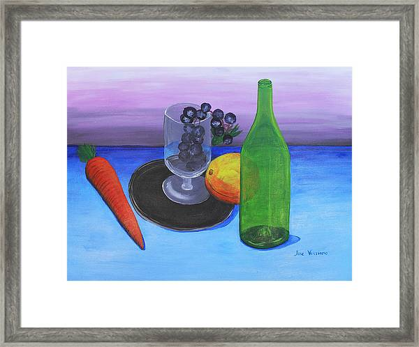Wine Glass And Fruits Framed Print