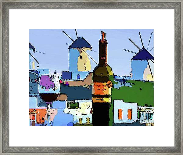 Wine In Mykonos Framed Print