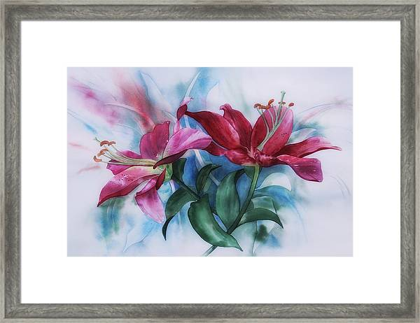 Wine Lillies In Pastel Watercolour Framed Print
