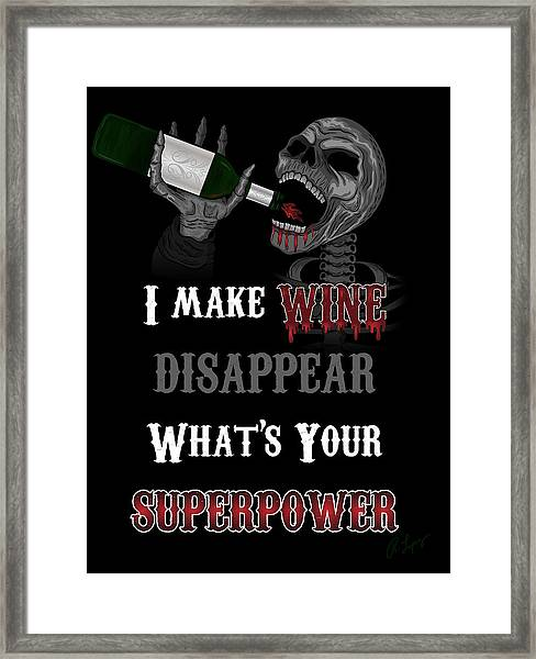 Wine Superpower Skeleton Fantasy Art Framed Print