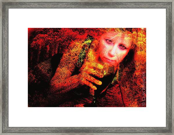 Wine Woman And Fall Colors Framed Print