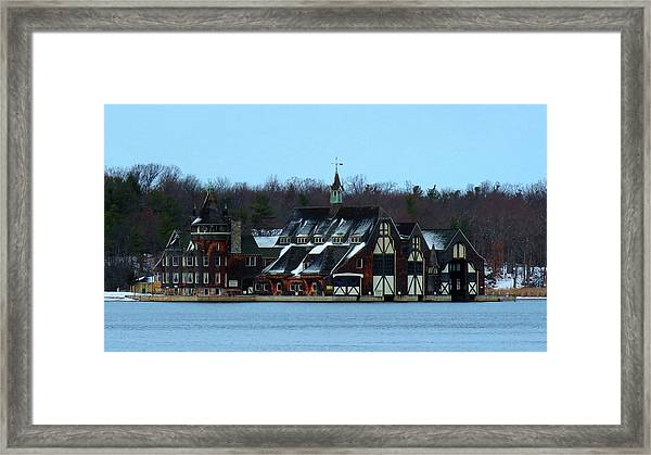 Snow On Boldt Castle Yacht House Framed Print