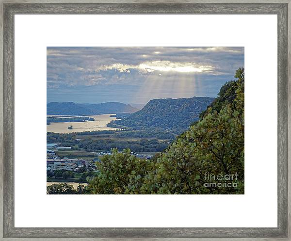 Framed Print featuring the photograph Winona Garvin Heights With Sunbeams by Kari Yearous