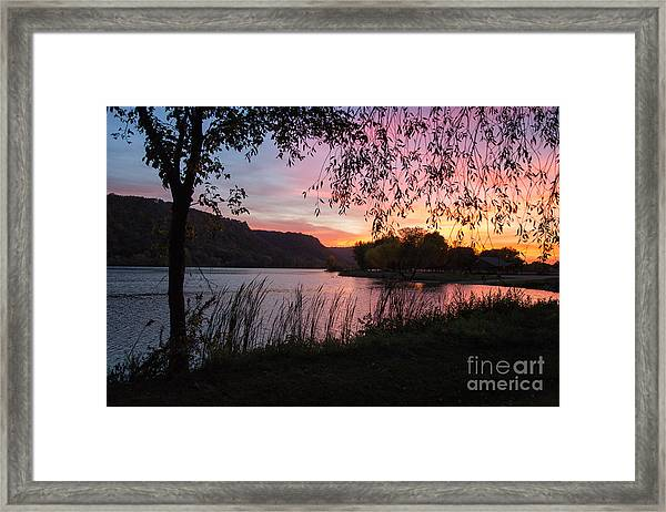 Framed Print featuring the photograph Winona Minnesota Pink Sunset With Branches by Kari Yearous