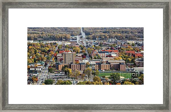 Framed Print featuring the photograph Winona Minnesota With University And Bridge by Kari Yearous