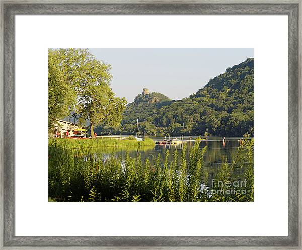 Framed Print featuring the photograph Winona Mn Photo Summer Evening With Sugarloaf by Kari Yearous