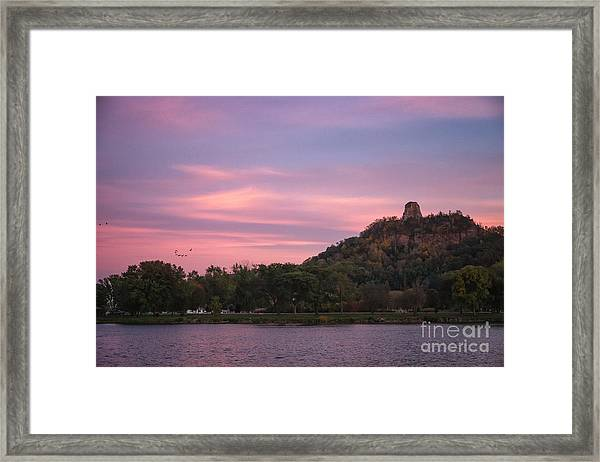 Framed Print featuring the photograph Winona Sugarloaf Pink Skies With Geese by Kari Yearous