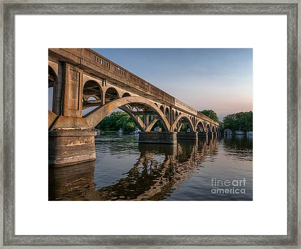 Framed Print featuring the photograph Winona Wagon Bridge With Boathouses by Kari Yearous