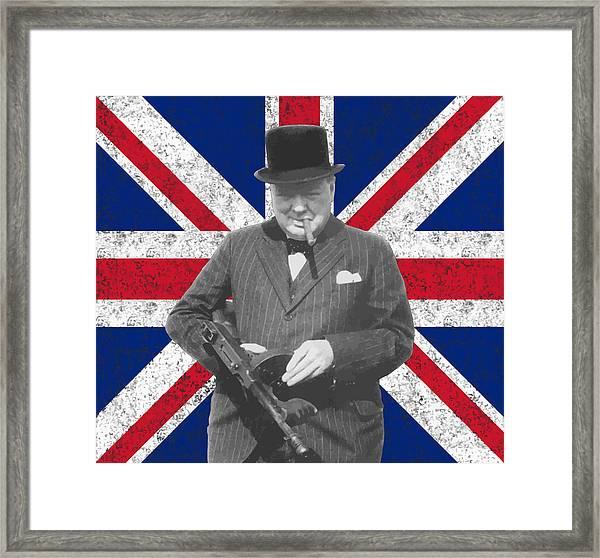 Winston Churchill And His Flag Framed Print