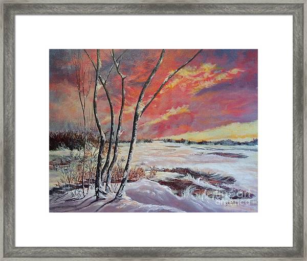 Winter Across The Lake  Framed Print