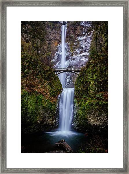 Winter At Multnomah Falls 2 Framed Print