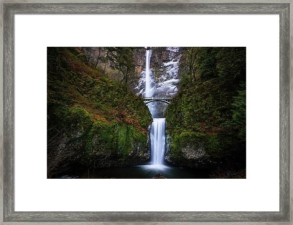 Winter At Multnomah Falls Framed Print