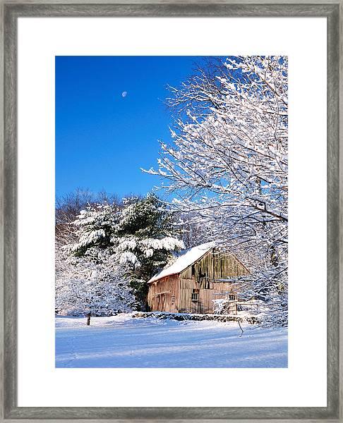 Winter Barn Scene-warren Ct Framed Print