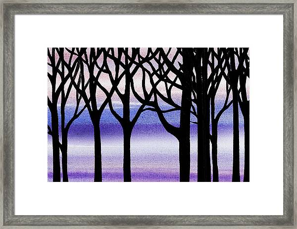 Winter Blizzard Abstract Forest Framed Print