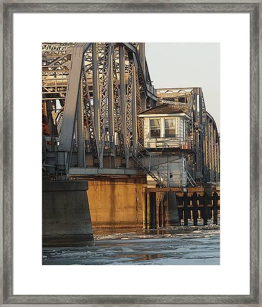 Winter Bridgehouse Framed Print