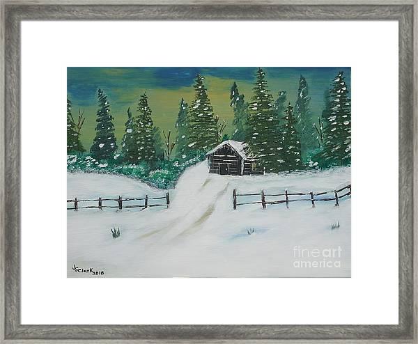 Winter Cabin Framed Print