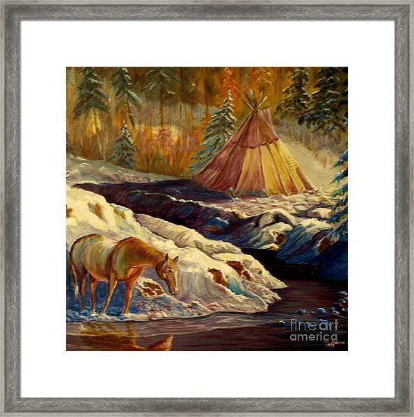 Winter Camping Framed Print