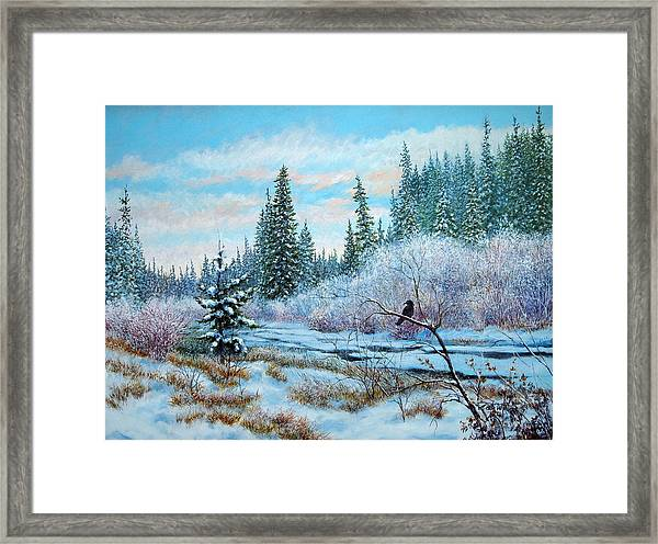 Winter Creek With Crow Framed Print