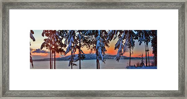Winter Drama Sunrise Panorama Framed Print by Mary Gaines