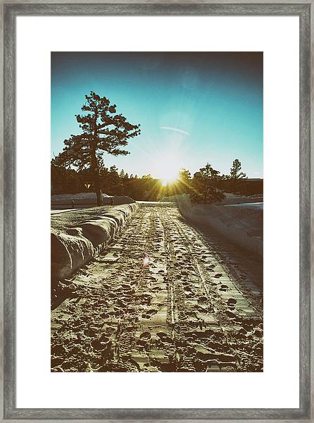 Framed Print featuring the photograph Winter Driveway Sunset by Jason Coward
