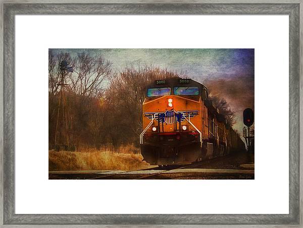 Winter Evening Union Pacific Train Framed Print